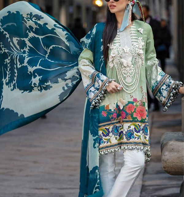 Embroidered LAWN 2019 with Chiffon Dupatta (DRL-305) - UNSTITCHED FABRIC Price in Pakistan