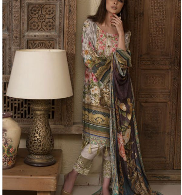 Embroidered Lawn Dress with Chiffon Dupatta (DRL-317) (Unstitched) Price in Pakistan