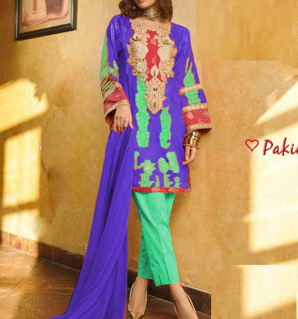 Embroidered Lawn Dress With Chiffon Dupatta (DRL-401) (Unstitched) Price in Pakistan