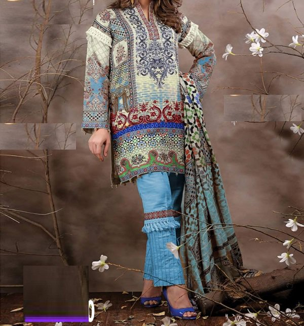 Embroidered Lawn Dress With Chiffon Dupatta (DRL-403) (Unstitched) Price in Pakistan