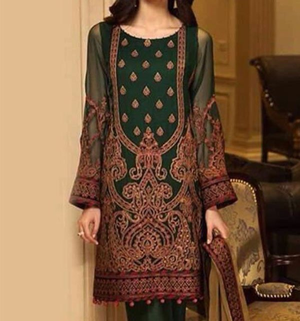 Embroidered Lawn Dress With Chiffon Dupatta (DRL-405) (Unstitched) Price in Pakistan