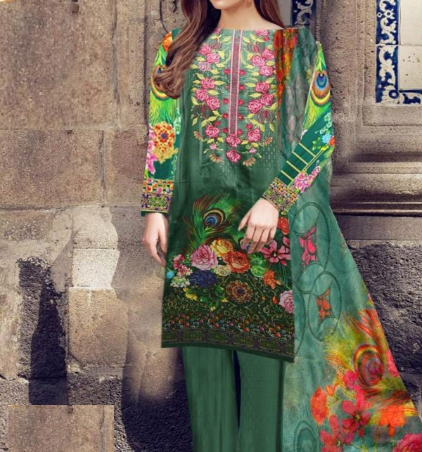 Embroidered Lawn Dress With Chiffon Dupatta (DRL-407) (Unstitched) Price in Pakistan