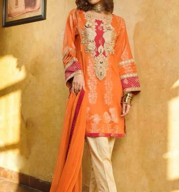Embroidered Lawn Dress With Chiffon Dupatta (DRL-409) (Unstitched) Price in Pakistan