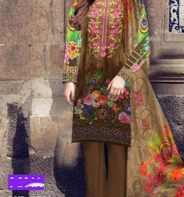 Embroidered Lawn Dress With Chiffon Dupatta (DRL-411) (Unstitched) Price in Pakistan