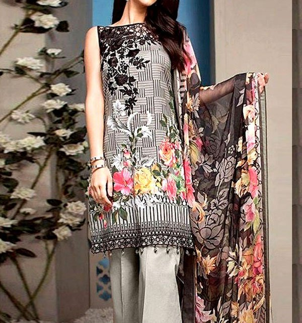 Heavy Embroidered Lawn Dress With Chiffon Dupatta (DRL-51) Price in Pakistan