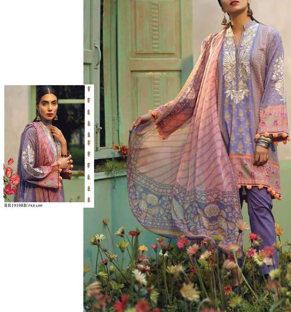 Embroidered Lawn Suit 3 PC New Summer Collection 2019 (DRL-329) (Unstitched) Price in Pakistan