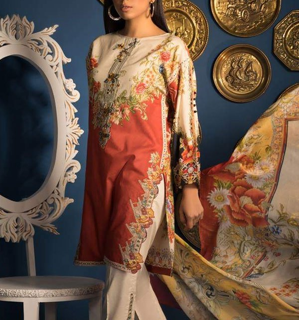 Embroidered Lawn Suit with Chiffon Dupatta (DRL-321) (Unstitched) Price in Pakistan