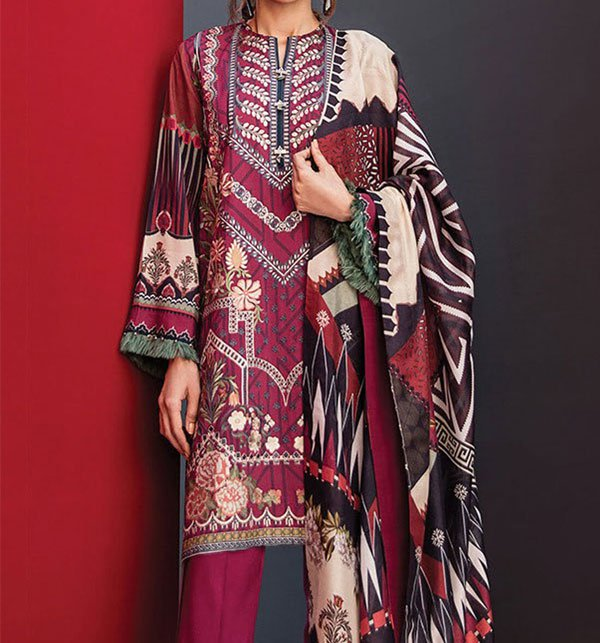 Embroidered Lawn Suit With Chiffon Dupatta (DRL-280) (UnStitched) Price in Pakistan