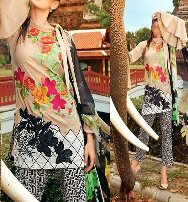 Sale Embroidered Linen Dress with Chiffon Dupatta (Unstitched) (LN-73) Price in Pakistan