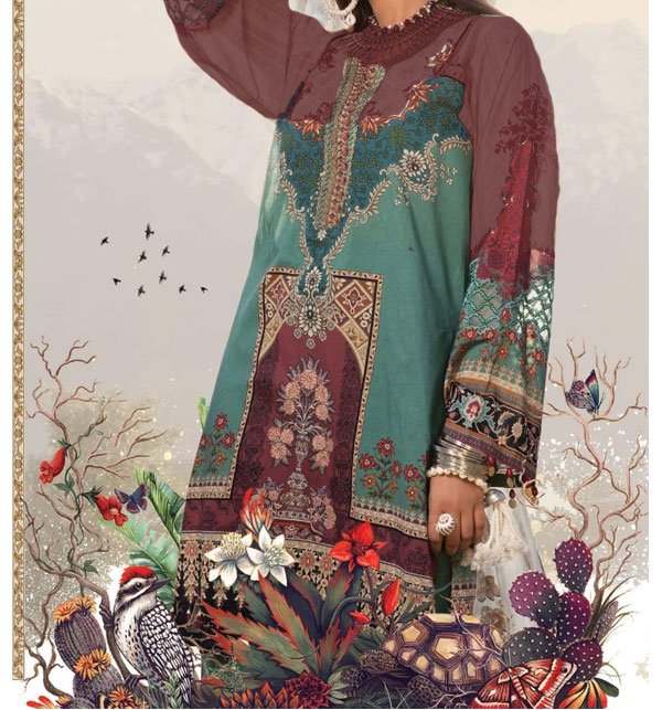 Linen Collection Embroidered Dress with Wool Shawl Winter Collection (Unstitched) (LN-76) Price in Pakistan