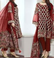 Embroidered Maroon Chiffon Suit with Net Dupatta (CHI-289) (Unstitched) Price in Pakistan
