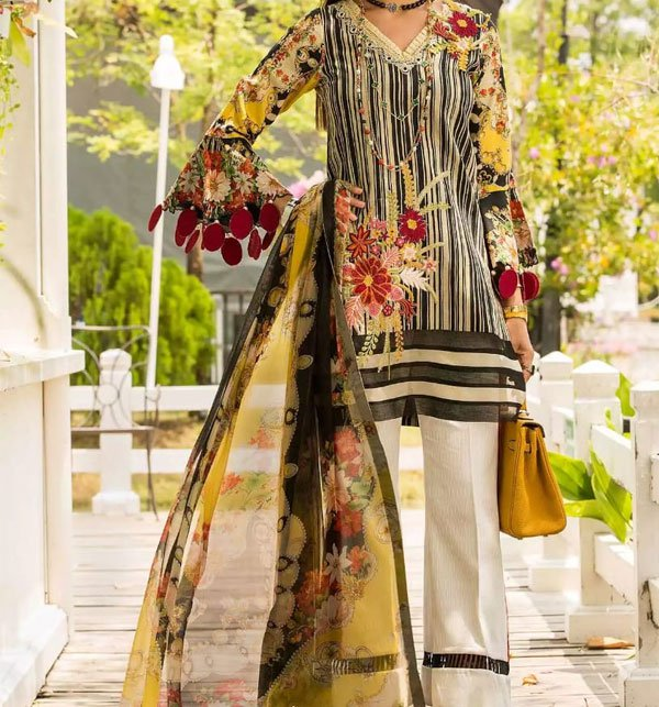 Embroidered Neck Lawn Suit With Chiffon Dupatta  (DRL-396) (Unstitched) Price in Pakistan