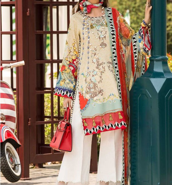 Embroidered Lawn Suit With Chiffon Dupatta  (DRL-398) (Unstitched) Price in Pakistan