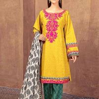 Embroidered Lawn Dress 2020 with Chiffon Dupatta Unstitched (DRL-420) Price in Pakistan