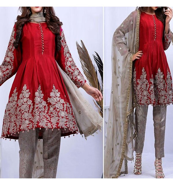 Embroidered Red Chiffon Dress with Net Dupatta (CHI-245) (Unstitched) Price in Pakistan