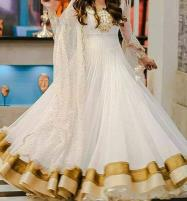 Embroidered White Chiffon Maxi Dress (Unstitched) (CHI-152) Price in Pakistan
