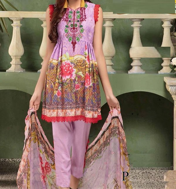 Embroidery Lawn Suit Collection 2019 With Chiffon Dupatta (DRL-282) (UnStitched) Price in Pakistan