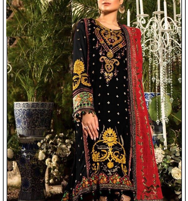 Embroidered Dress With Chiffon Dupatta (DRL-375) (Unstitched) Price in Pakistan