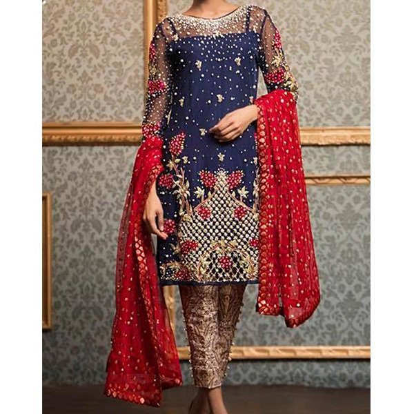 Weekend Deal Chiffon Embroidery Designer Suit With CHIFFON Dupatta Unstitched (CHI-129) Price in Pakistan