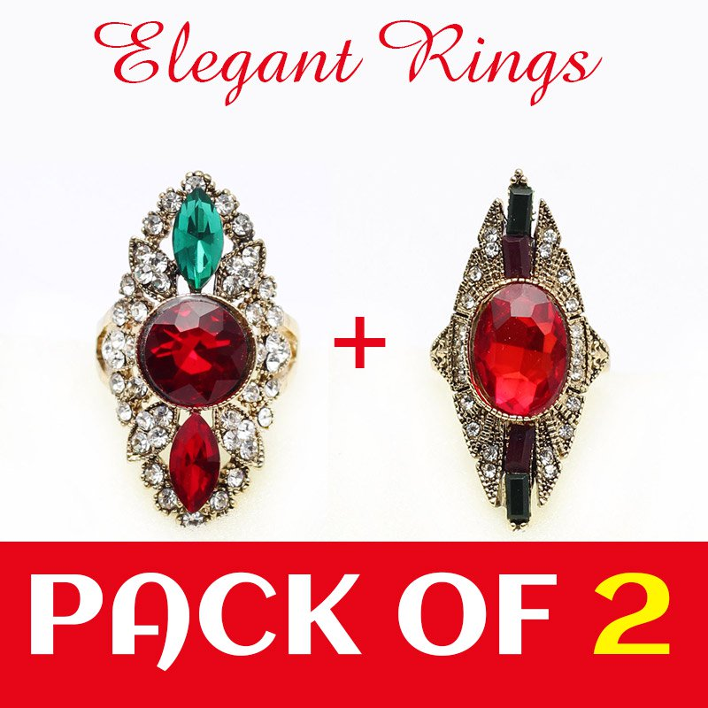 Pack of 2 Ladies Ring Jewelary (RH-01) Price in Pakistan