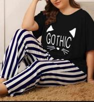 Gothic Black Night Dress Printed T-shirts With Striped Trouser Price in Pakistan