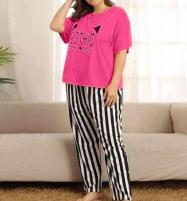 Gothic Pink Night Dress Printed T-shirts With Striped Trouser	 Price in Pakistan