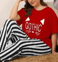 Gothic Red Night Dress Printed T-shirts With Striped Trouser Price in Pakistan