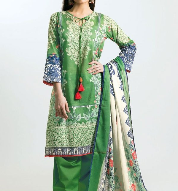 Green Embroidered Lawn Dress With Chiffon Dupatta (DRL-412) (Unstitched) Price in Pakistan