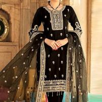 Heavy Embroidered Black Chiffon Wedding Dress 2020 - Unstitched (CHI-319) Price in Pakistan