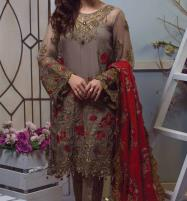 Heavy Embroidered Chiffon Dress With Chiffon Dupatta Unstitched (CHI-192) Price in Pakistan