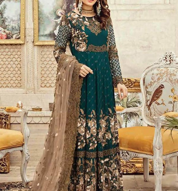 Heavy Embroidered Chiffon Dress with Net Dupatta (CHI-296) (UnStitched) Price in Pakistan