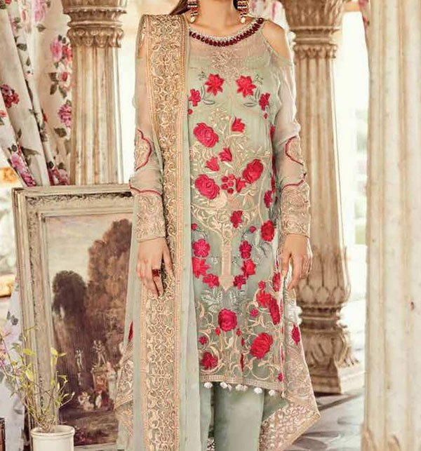 Heavy Embroidered Chiffon Unstitched 3 Piece Suit - Luxury Collection 2020 (CHI-298) Price in Pakistan
