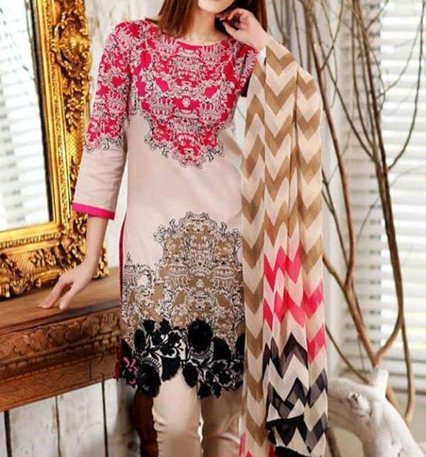 Linen Heavy Embroidered Dress with Wool Shawl Dupatta  (LN-83) (Unstitched) Price in Pakistan