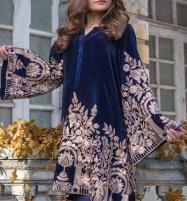 Heavy Embroidered Navy Blue Velvet Dress Unstitched (CHI-313) Price in Pakistan