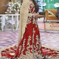 Heavy Embroidered Red Chiffon Bridal Maxi Dress 2020-2021 - (CHI-329) Price in Pakistan
