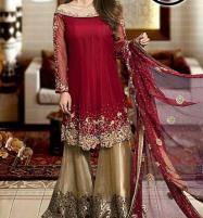 Hit Designer Embroidered Chiffon Suit With Chiffon Duppata (CHI-356) (Unstitched) Price in Pakistan