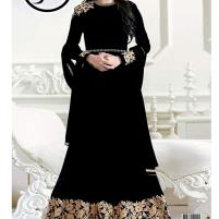 Indian Embroidered Black Chiffon Anarkali Suit (Maxi)  Unstitched (CHI-325) Price in Pakistan