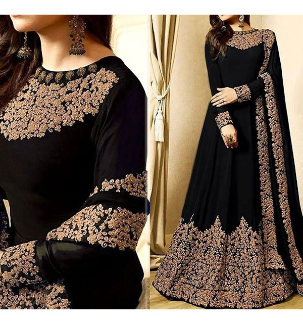 Indian Embroidered Black Chiffon Maxi Unstitched (CHI-177) Price in Pakistan