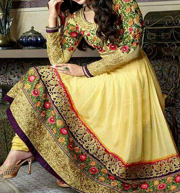 Indian Embroidered Chiffon Frock (CHI-34) Price in Pakistan