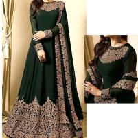 Indian Embroidered Green Chiffon Maxi Dress (Unstitched) (CHI-333) Price in Pakistan