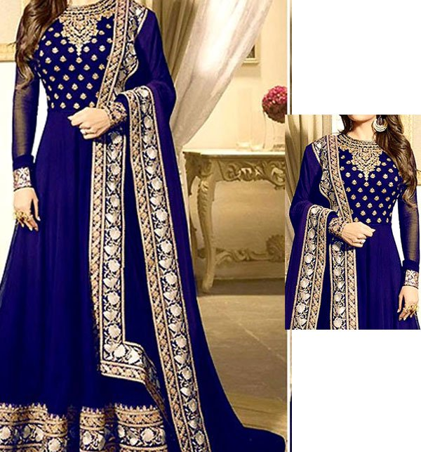 Indian Embroidered Navy Blue Chiffon Maxi (CHI-270) (Unstitched) Price in Pakistan