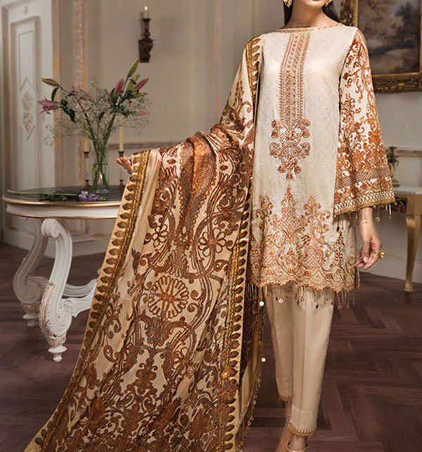 Khaddar Embroidery Suit With Wool Shawl Dupatta (Unstitched) (KD-39) Price in Pakistan
