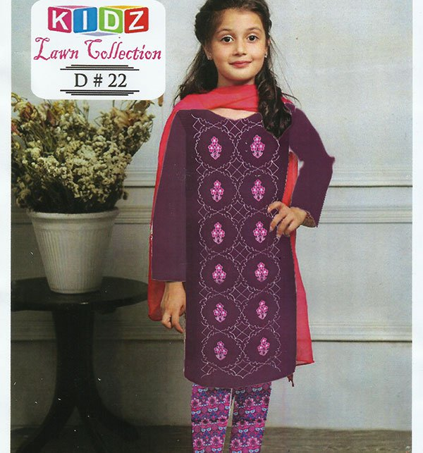 Kids 2-Pcs Embroidered Lawn Dress (DK-22) (UnStitched) Price in Pakistan