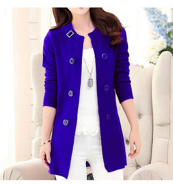 Korean Style Ladies Fleece Coat - Blue Price in Pakistan