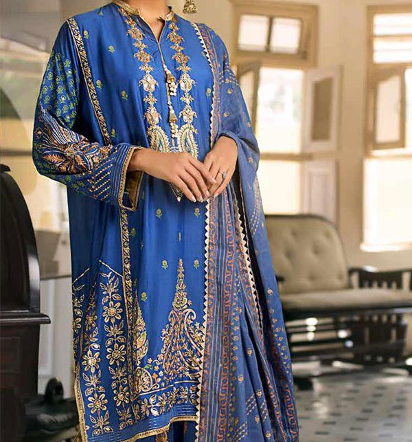 Linen Embroidered Suits With Wool Shawl Unstitched (LN-78) Price in Pakistan
