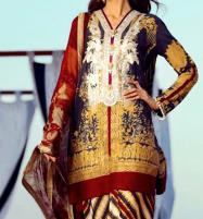 Latest 3 Pieces Embroidered Lawn Suits Online With Chiffon Dupatta UnStitched (DRL-596) Price in Pakistan