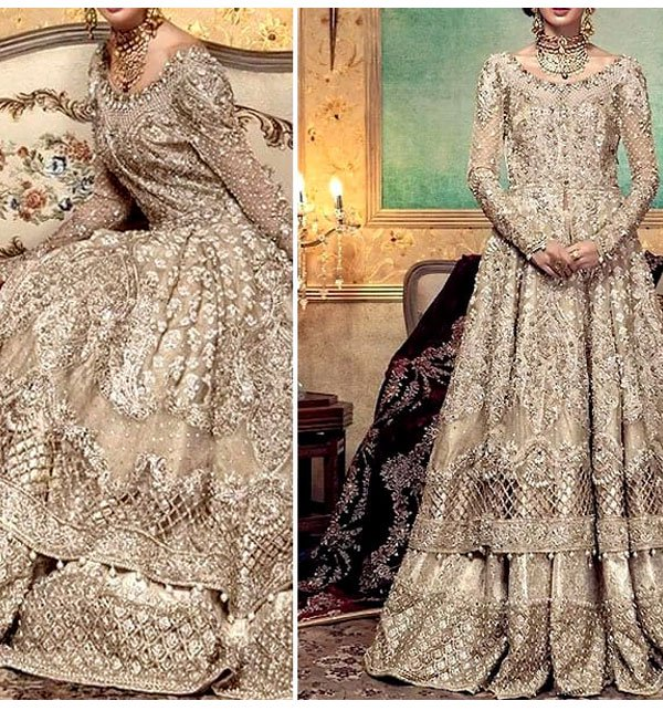 Net Heavy Embroidery Bridal Dress (Unstitched) (CHI-154) Price in Pakistan
