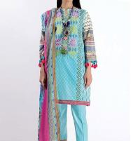 Lawn Emboidery Suit With Chiffon Printed Duppata (DRL-484) (Unstitched) Price in Pakistan