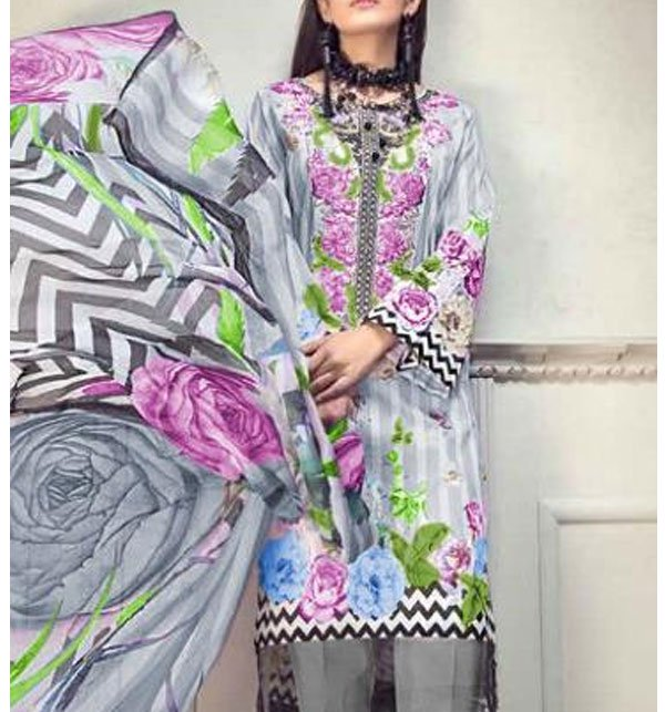 Lawn Embroidered Dress With Chiffon Dupatta (DRL-341) (Unstitched) Price in Pakistan