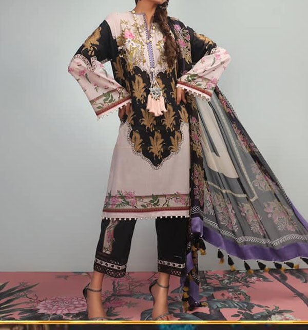 Lawn Embroidered Dress With Chiffon Dupatta (DRL-343) (Unstitched) Price in Pakistan